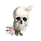 Wickedly Lovely With a rose between my teeth, Skull with rose and butterfly Wickedly Lovely Skin Art Temporary Tattoo (available in different sizes)