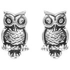 Target Owl Stud Earrings - Silver