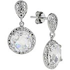 Tevolio Cubic Zirconia Round Dangle Earrings - Clear/Silver