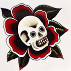 Tattoo You Small Temporary Skull Rose Tattoo, Classic Tattoo Style, Traditional Tattoo, by Paul Nycz