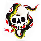 Tattoo You Small Skull Snake Temporary Tattoo, Classic Tattoo Style, Traditional Tattoo, by Paul Nycz