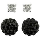 Target Round Post and Fireball Crystal Earrings Set of 2 - Black