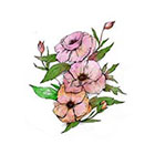 myTaT Vintage Flower Tattoo, Pink Flower, Watercolor, Bohemian Flower Temporary Tattoo (Set of 2)