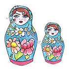 JoellesEmporium Russian Dolls Temporary Tattoo, Tattoo Temporary, Blue, Modern Illustration, Birthday Present, Birthday Gift, Gift Ideas, Watercolor Art