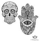 Wickedly Lovely Sugar Skull and Hamsa Hand , Body Art, Boho tattoos, Festival tattoos, WickedlyLovely Skin Art Temporary Tattoo