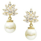 Journee Collection 2/5 CT. T.W. Pear Cut CZ Basket Set Simulated Pearl Dangle Earrings in Brass - Gold