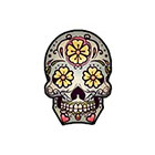 myTaT Skull Tattoo, Day of the Dead Skull, Dia de los Muertos Tattoo, Sugar Skull Temporary Tattoo (Set of 2)