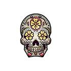 myTaT Skull Tattoo, Day of the Dead Skull, Dia de los Muertos Tattoo, Sugar Skull Temporary Tattoo (Set of 2)
