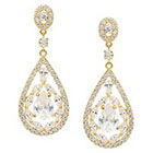 Journee Collection 4 7/8 CT. T.W. Pear Cut CZ Basket Set Dangle Earrings in Brass - Gold