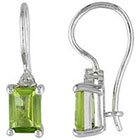 Allura 2 CT. T.W. Peridot and Diamond Accent Fashion Earrings in Sterling Silver