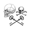 The Fickle Tattoo Vintage Skull & Keys Temporary Tattoos -