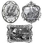 The Fickle Tattoo Vintage Framed Ship & Kraken Temporary Tattoos -