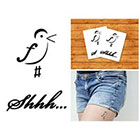 Doodleskin Music Bird & Shhh - Temporary Tattoo (Set of 2)