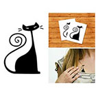 Doodleskin Black cat- Temporary Tattoo (Set of 2)