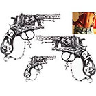 NovuInk Rosary's Guns (x3) Waterproof Temporary Tattoo Transfer (Original Hand Painted Art Design)