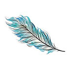 myTaT Feather Tattoo, Blue Feather Tattoo, Festival Tattoo (Set of 2)