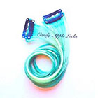 CandyAppleLocks Mint Human Hair Extensions, Clip in Human Hair Pastel, Rainbow Real Hair, Dip Dye Ombre