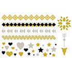myTaT Gold and Silver Hearts, Stars, Wrist Band Tattoos, Ankle Band Tattoos, Gold Arrow Tattoo, Gold Medallion Temporary Tattoo Set