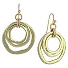 Target Drop Earrings with Hammered Cut Out Design- Gold