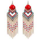 Natasha Accessories Imitation Gold Fringe Earring Stone - Coral/Turquoise (5