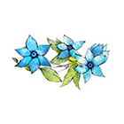 myTaT Vintage Flower Tattoo, Blue Flower Tattoo, Festival Flower Temporary Tattoo (Set of 2)