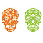 myTaT Skull Tattoo, Day of the Dead Tattoo, Dia de los Muertos Temporary Tattoo (Set of 2)