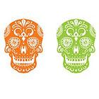 myTaT Skull Tattoo, Day of the Dead Tattoo, Dia de los Muertos Temporary Tattoo (Set of 2)