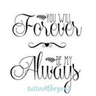 TattooNbeyond Temporary Tattoo - Watercolor Roses / You Will FOREVER be my ALWAYS in