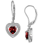 Allura 1.6 CT. T.W. Garnet and .005 CT. T.W. Diamond Heart Shaped Leverback Earrings in Sterling Silver