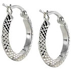 Diamond Cut Small Hoop Earring - Silver