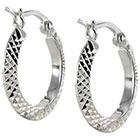 Diamond Cut Small Hoop Earring - Silver
