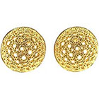 One Kings Lane Vintage Vintage Yourgreatfinds Gold Lacy Dome Button Earrings in gold