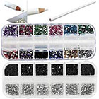 Amazon Best Quality Professional Nail Art Set Kit With White Wax Rhinestones Picker Pencil, 2000 2mm Round Black And Silver Crystals In Box And 3000 Mixed Colors Gemstones In Storage Case By VAGA