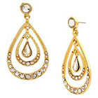 Target Triple Teardrop Drop Earring with Pave Stones - Gold/Clear