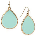 Target Flat Tear Drop Earrings - Mint/Gold