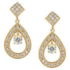 Journee Collection 1 3/8 CT. T.W. Round Cut CZ Basket Set Dangle Earrings in Brass - Gold