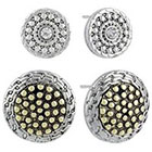 Target Textured Button Earrings Set of 2 - Silver