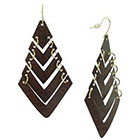 Diamond Drop Earring with Textured and V Shape Drop - Gold and Brown