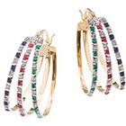 Target 18K Gold over Sterling Silver Diamond, Ruby, Emerald, and Sapphire Yellow Accent Flare Oval Hoop Earrings