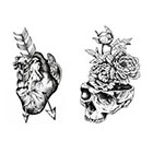 Tattoo LifeStyle Sets Heart and Skull Temporary Tattoos