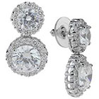 Tevolio Cubic Zirconia Double Haloed Dangle Earrings - Silver