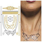 Tattify Metallic Gold Silver Necklace Temporary Tattoo - 1 x A5 Sheet