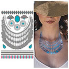 Tattify Metallic Silver Necklace Temporary Tattoo - 1 x A5 Sheet