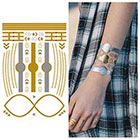 Tattify Metallic Gold Silver Bracelet Jewelry Temporary Tattoo - 1 x A5 Sheet