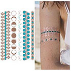 Tattify Copper Blue Metallic Temporary Tattoo (1 Sheet) - Moon Child