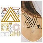 Tattify Metallic Gold Triangle Temporary Tattoo - Shape Shifter - 1 x A5 Sheet