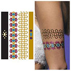 Tattify Metallic Gold Red Blue Armband Temporary Tattoo - 1 x A5 Sheet
