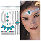 Tattify Metallic Headband Blue Silver Temporary Tattoo - 1 x A5 Sheet