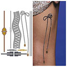 Tattify Metallic Leg Piece Silver Temporary Tattoo - 1 x A5 Sheet