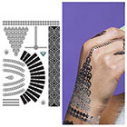 Tattify Metallic Silver Black Temporary Tattoo (1 Sheet) - Hollywood Glamour